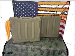 Set of (2) Pelican Hardigg Weatherproof Green Military Storage Cases