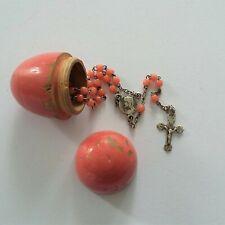 Old Rosary Ancien Petit Chapelet en Métal Perles de VERRE dans Etui Oeuf