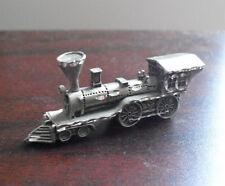 """Vintage 1987 Cuter Pewter Steam Locomotive Figurine 1"""" Tall"""