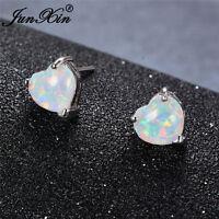 925 Wedding Silver Rainbow Heart Stud Earrings Fire Opal Womens Best Friend Gift