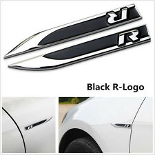 2Pcs Black Metal R Logo Car Side Wing Fender Skirts Knife Badge Emblem Stickers