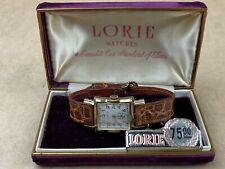 Lorie Vintage 1950s rectangular Swiss Made Watch complete w/original Case