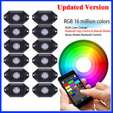 12 Pods LED RGB Rock Light Bluetooth For Truck Off Road Jeep Wrangler Boat ATV