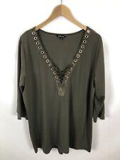 MS MODE Damen Shirt, Größe XL, olivfarbe, schick, locker