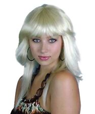 Long Blonde Spunky 70s 80s 90s Layered Flicked Retro Disco Quality Costume Wig