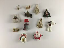 Mixed lot of 12 Christmas jewelry ear rings brooches pins