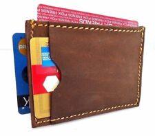 Men's Natural Leather Credit Card Case Mini Wallet 3 Slots Back Pocket Size Slim