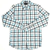 Calibre Men's Size Large Blue Check Plaid Long Sleeve Collared Button Up Shirt
