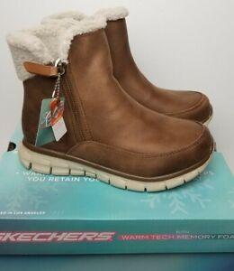 Skechers Women Synergy Collab Faux Fur Trim Memory Foam Ankle Boots sz 6.5 44779