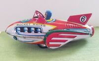 MF735 Red Rocket Racer Friction Power Space Ship Retro Tin Toy Great Graphics