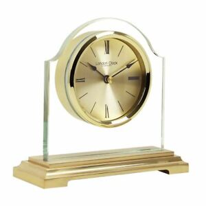 Gold Tone with Glass Break Arch Mantel Clock by London Clock Co. 03149