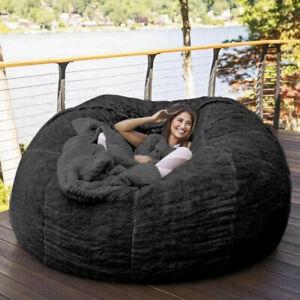 183*90Cm Giant Bean Bag Bed COVER Fluffy Fur Lazy Sofa Case Living Room Furnitur