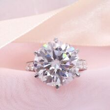 4.0Ct Round Cut Moissanite Diamond Solitaire Engagement Ring 14K White Gold Over