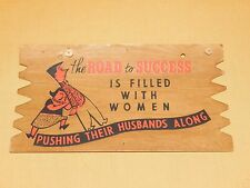 "VINTAGE 9"" X 5""  FUNNY POSTCARD PLAK KARD WALL DECORATION ROAD TO SUCCESS"
