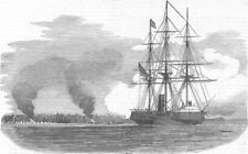IVORY COAST. Ship Penelope destroying Tabou, antique print, 1854