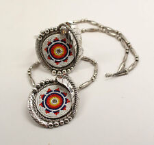 NEW SIGNED MALCOLM WHITEBIRD NAVAJO STERLING GEOMETRIC BEADED NECKLACE/CUFF SET