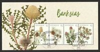 AUSTRALIA 2018 BANKSIAS FLOWERS SOUVENIR SHEET OF 4 STAMPS FINE USED CONDITION