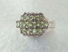 925 Sterling Silver ladies peridot cluster RING size 8-8.5  QVC HSN