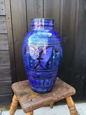 More details for stunning ex large morocco safi hand painted electric blue highly decorated vase
