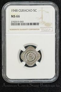 Curacao 5 Cents 1948 MS66 NGC KM#47 Hints of Rose Tone Tied 2nd Finest 3/1