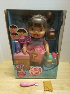 "Hasbro 2010 New Baby Alive Baby's New Teeth Ethnic Brunette 13"" Doll NIB"