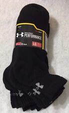Under Armour Performance  6-Pair Men's Quarter Crew Socks  Large  Black  (9985)