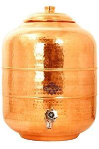 Hammered Copper Water Dispenser Pot Matka Storage Container Kitchenware 16 L