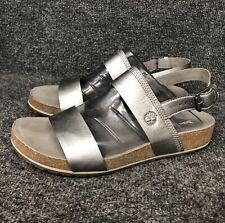 Timberland Malibu Wave 2 Strap Silver Leather Slingback Sandals Womens Sz 9.5W