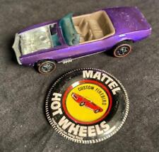 1967 Mattel Hot Wheels Redline Purple Custom Firebird Die Cast Car And Button!