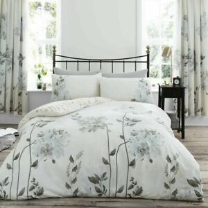 King Size 5' NATURAL Floral Duvet Cover + Pillowcases (CAMEO)