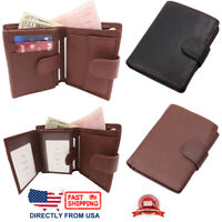 Men's Wallet, Genuine Full Grain Leather 2 ID Window Spacious Trifold Wallet