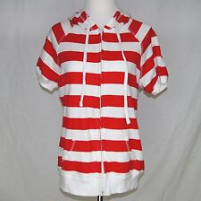 Juniors Wet Seal Hoodie Beach Cover Up Size XL Red White Stripe Front Zip A1P