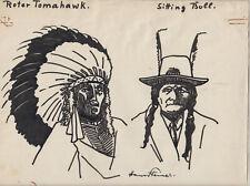 Originalzeichnung Hans Steiner Karikatur 1930 Simpliccisimus Indianer signiert