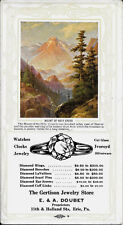 R. Atkinson Fox Signed, Man Gun Trees Mt's Snow, Print Is On A Ink Blotter 1920s