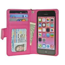 Pink iPhone 4 4S Wallet Case with Card Slots and Photo ID Cash Holder Cover
