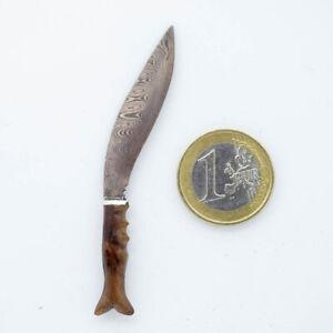 """Miniaturmesser """"Nepalesischer Khukuri"""" aus Damaststahl"""