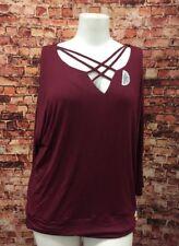Thalia  Sodi Burgundy Rayon Blend Top Blouse Shirt Size XL