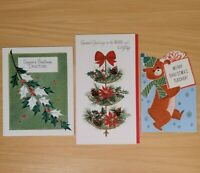 Vintage Christmas Cards Lot of 3 Unused Boss Teacher Doctor Holiday Greetings