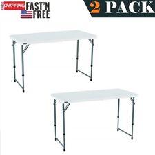 2 PACK Granite White Plastic Folding Table 24''W x 48''L Height Adjustable