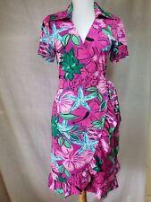 Tracy Negoshian Pineapple Jeana Wrap Dress XS Ruffles Tropical Floral Pink CUTE!