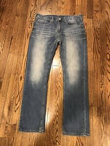 Mens Buffalo David Bitton Six-X Straight Fit Denim Blue Jeans Zip Fly Tag 32x32