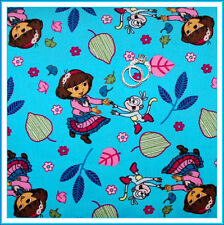 BonEful Fabric Fq Corduroy Cotton Dora Boots Monkey Flower Leaf Bright Blue Pink