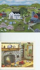 1 LANG FOLK ART SHEEP GARDEN HOUSE CARD 1 CHERRY PIE RECIPE HEARTH PRINT CARD