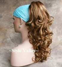Ginger Mix Ponytail Extension HairPiece Long Curly Claw Clip in on Hair Piece