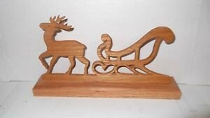 Handcrafted Oak Reindeer and Sleigh- Free Shipping