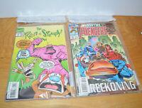 Vintage 1993 Marvel Comic Book Polybag Lot REN & STIMPY X-MEN AVENGERS Retro