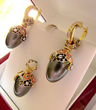 SUPERB EGG PENDANT & EARRINGS SET STERLING SILVER 925 & 24K GOLD w/ BLACK PEARL
