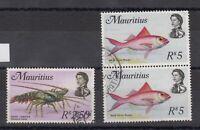 Mauritius QEII R2.50 R5 x 2 Sea Life Fish SG397a/398 VFU J7238