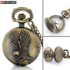 Antique Bronze Eagle Pendant Pocket Watch Necklace Gift Vintage Quartz Steampunk