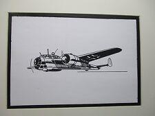 German Dornier Do 17 Aircraft  artist pen ink drawing 1964 New York Worlds Fair